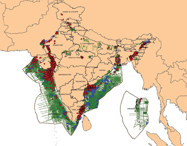 Distribution of oil and gas reserves in the Indian sub-continent (Map 2)